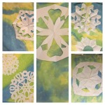 This is how our snowflake art came out. Find the lessons here. http://artprojectsforkids.org/portfolio/snowflake-atc/